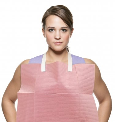 Girl wearing Bib-Eze disposable bib holders